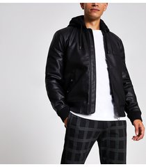 river island mens black faux leather hooded bomber jacket