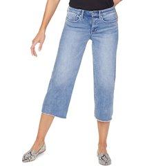 women's nydj fray hem wide leg capri jeans, size 2 - blue