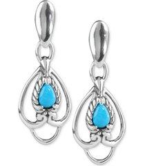 carolyn pollack turquoise drop earrings (5/8 ct. t.w.) in sterling silver