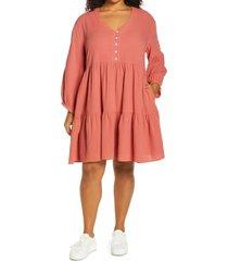 plus size women's madewell colette lightspun long sleeve dress, size 18w - pink