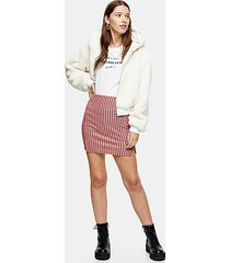 red check jersey mini skirt - red