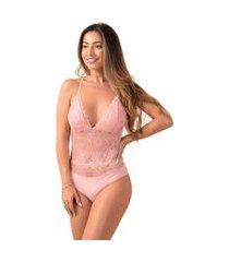 body sem bojo vip lingerie renda decote costas rose