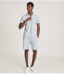 reiss hector - airtech cotton jersey shorts in soft blue, mens, size xxl