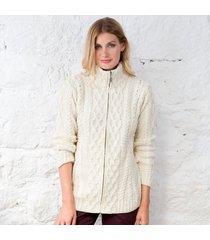 ladies full-neck merino zipper cardigan cream xxl