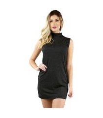 vestido bravaa modas camisão lurex  gliter tubinho festa 322 preto
