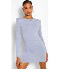 padded shoulder long sleeve t-shirt dress, grey marl