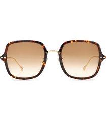 women's isabel marant 55mm square sunglasses - havana gold/ brown gradient