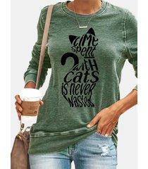 camicetta casual da donna a maniche lunghe con stampa a lettere di gatto