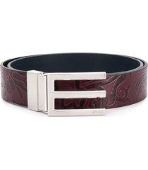 etro paisley embossed logo buckle belt - purple