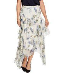 vince camuto petite floral-print asymmetrical skirt