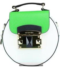 borsa a mano e tracolla cromia it saffiano 1403638 bianco+verde