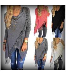 women oblique tassels bow collar long sleeve knitted cardigan