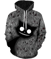 abstract cat graphic front pocket pullover hoodie