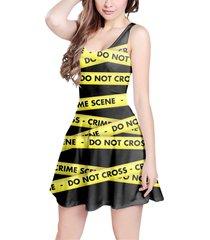 crime scene tape sleeveless dress