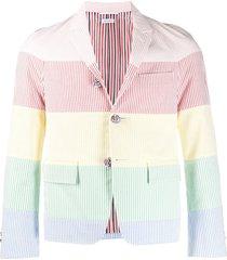 thom browne rainbow stripe raglan sport coat - pink