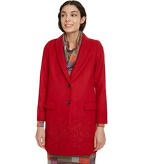 abrigo desigual rojo - calce regular