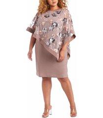 r & m richards plus size embellished-overlay sheath dress