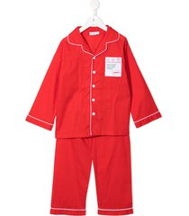 lunn antiques cotton long-sleeve pajamas - red