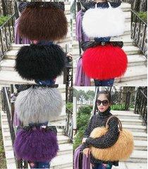 2017 real long lamb fur women's gorgeous handbag /mongolian fur bag *7 colors