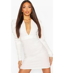 tall ruched puff sleeve mini dress, ivory