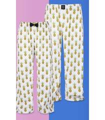 spodnie do spania dla pary piżama ananasy