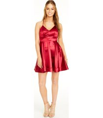 teeze me juniors' satin cross-back dress