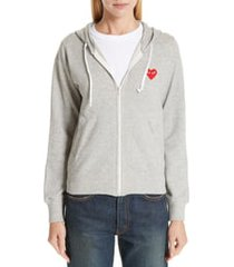 women's comme des garcons play zip hoodie, size x-small - grey
