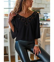 black hollow diseño escote en v 3/4 longitud blusa con mangas