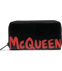 alexander mcqueen logo print zip-up wallet - black