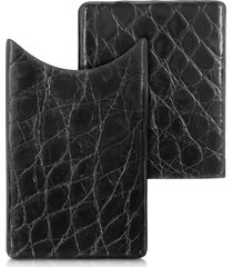peroni designer small leather goods, crocodile-embossed leather card case