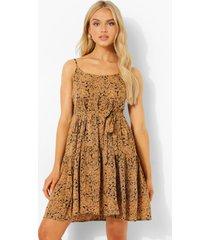 skater jurk met bandjes en opdruk, brown