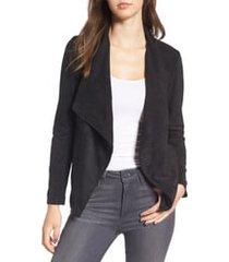 women's bb dakota wade drape front faux suede jacket, size x-large - black