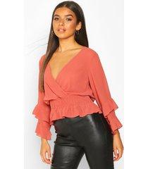 woven chiffon ruffle detail blouse, rose