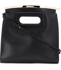 stée curved leather tote bag with hardware detail - black