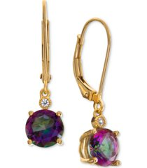 amethyst (2-1/5 ct. t.w.) & diamond accent drop earrings in 14k rose gold (also available in citrine, mystic quartz, garnet, & blue topaz)