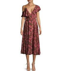 floral asymmetric ruffle silk dress