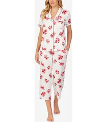 women's short sleeve knit capri pajama set