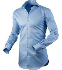 circle of gentlemen heren overhemd asher licht cutaway stretch slim fit blauw
