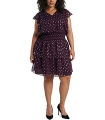 1.state trendy plus size foil-print fit & flare dress
