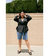 womens you belt believe it plus satin blouse - black