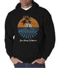 la pop art men's cities in san diego word art hooded sweatshirt
