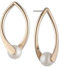 anne klein gold-tone imitation pearl open drop earrings