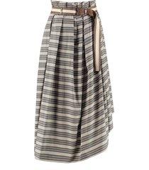 brunello cucinelli printed cotton skirt
