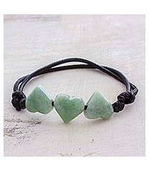jade pendant bracelet, 'maya love in light green' (guatemala)
