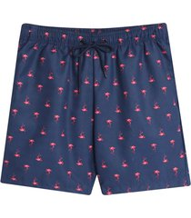 pantaloneta playa flamingo color azul, talla xs