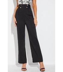 pantalones negros de cintura alta con botones en la parte delantera