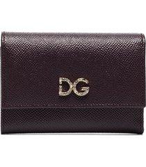 dolce & gabbana crystal-embellished logo-plaque wallet - purple