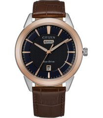 citizen eco-drive men's corso brown leather strap watch 40mm