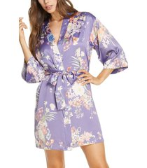 women's flora nikrooz petra short robe, size x-small/small - purple