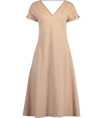 rolled sleeve cotton stretch midi dress
